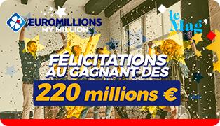 Le Jackpot historique EuroMillions de 220 millions d'euros a été remporté en France